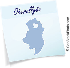 Map of Oberallgaeu as sticky note in blue