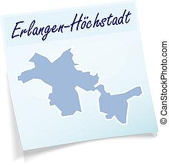 Map of Erlangen-Hoechstadt as sticky note in blue
