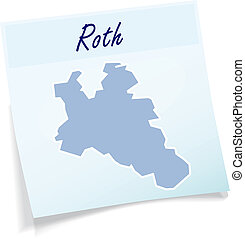 Map of Roth as sticky note in blue