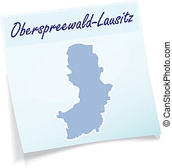 Map of Oberspreewald-Lausitz as sticky note in blue