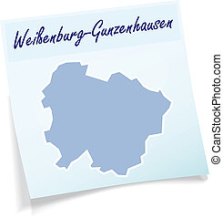 Map of Weissenburg-Gunzenhausen as sticky note in blue
