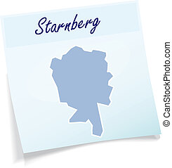Map of Starnberg as sticky note in blue