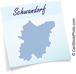 Map of Schwandorf as sticky note in blue
