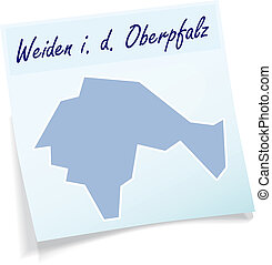 Map of Weiden as sticky note in blue