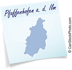 Map of Pfaffenhofen as sticky note in blue