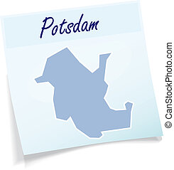 Map of Potsdam as sticky note in blue