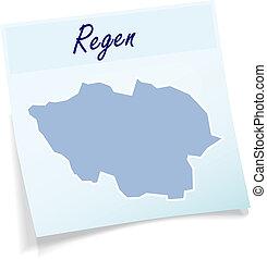 Map of Regen as sticky note in blue