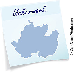 Map of Uckermark as sticky note in blue