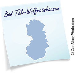 Map of Bad Toelz Wolfratshausen as sticky note in blue
