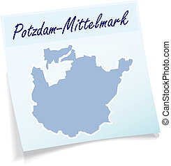 Map of Potsdam-Mittelmark as sticky note in blue