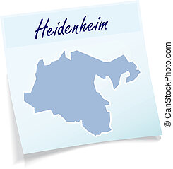 Map of Heidenheim as sticky note in blue