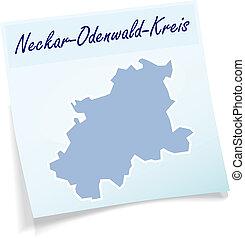 Map of Neckar-Odenwald-Kreis as sticky note in blue