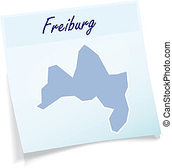 Map of Freiburg-im-Breisgau as sticky note in blue