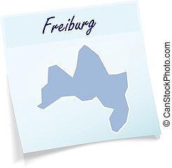 Map of Freiburg-im-Breisgau as sticky note in blue
