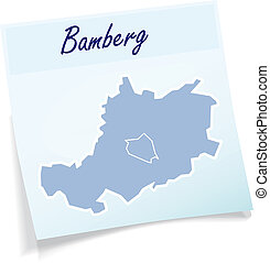Map of Bamberg as sticky note in blue