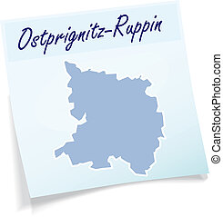 Map of Ostprignitz-Ruppin as sticky note in blue