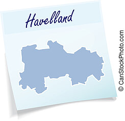 Map of Havelland as sticky note in blue