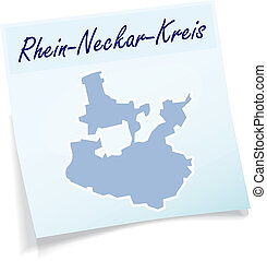 Map of Rhein-Neckar-Kreis as sticky note in blue