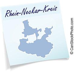 Map of Rhein-Neckar-Kreis as sticky note in blue
