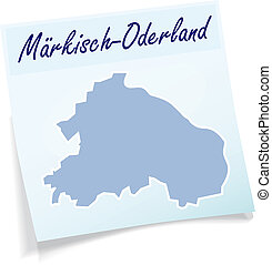 Map of Maerkisch-Oderland as sticky note in blue