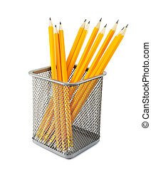 Yellow pencils in metal pot on a white background