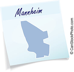 Map of Mannheim as sticky note in blue