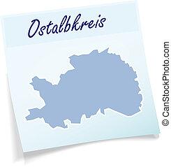 Map of Ostalbkreis as sticky note in blue