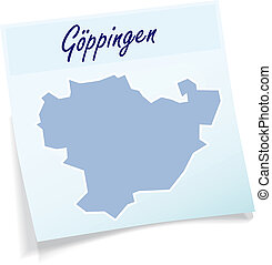 Map of Goeppingen as sticky note in blue