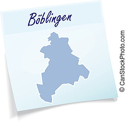Map of Boeblingen as sticky note in blue