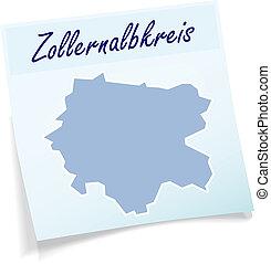 Map of Zollernalbkreis as sticky note in blue