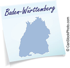 Map of Baden-Wuerttemberg as sticky note in blue