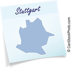 Map of Stuttgart as sticky note in blue