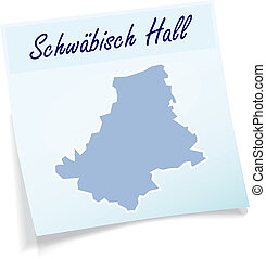 Map of Schwaebisch-Hall as sticky note in blue