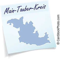 Map of Main-Tauber-Kreis as sticky note in blue
