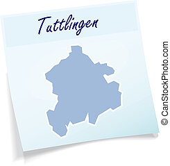 Map of Tuttlingen as sticky note in blue