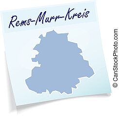 Map of Rems-Murr-Kreis as sticky note in blue