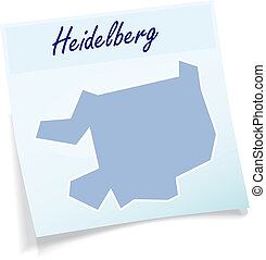 Map of heidelberg as sticky note in blue