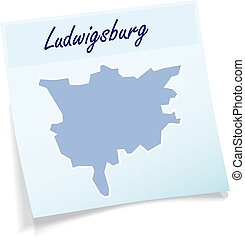 Map of Ludwigsburg as sticky note in blue