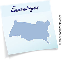 Map of Emmendingen as sticky note in blue