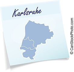 Map of Karlsruhe as sticky note in blue