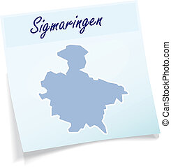 Map of Sigmaringen as sticky note in blue