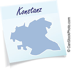 Map of Konstanz as sticky note in blue