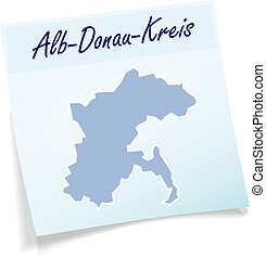 Map of Alb-danube-Kreis as sticky note in blue