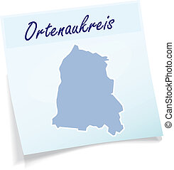 Map of Ortenaukreis as sticky note in blue