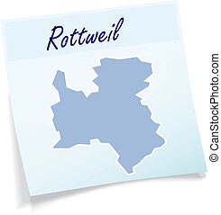 Map of Rottweil as sticky note in blue