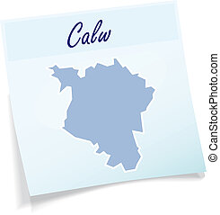 Map of Calw as sticky note in blue