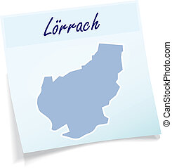 Map of Loerrach as sticky note in blue
