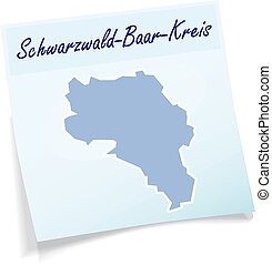 Map of Schwarzwald-Baar-Kreis as sticky note in blue