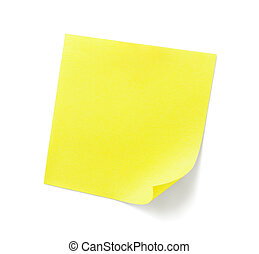 yellow sticky note with shade on white