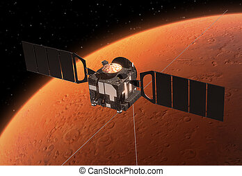 Spacecraft Mars Express Orbiting Mars. 3D Scene.